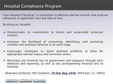 compliance program template sle hospital compliance program