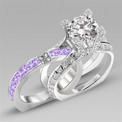Best 25 Purple Wedding Rings Ideas On Pinterest Purple Brilliant Cut Lilac Amethyst Two In One Rhodium Plating Sterling Silver Engagement Ring Bridal Ring Set We Love This Beautiful Engagement Ring