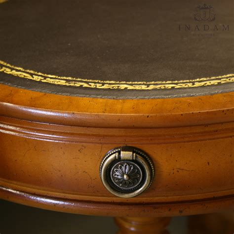 leather top drum table inadam furniture 20 quot drum table with leather top