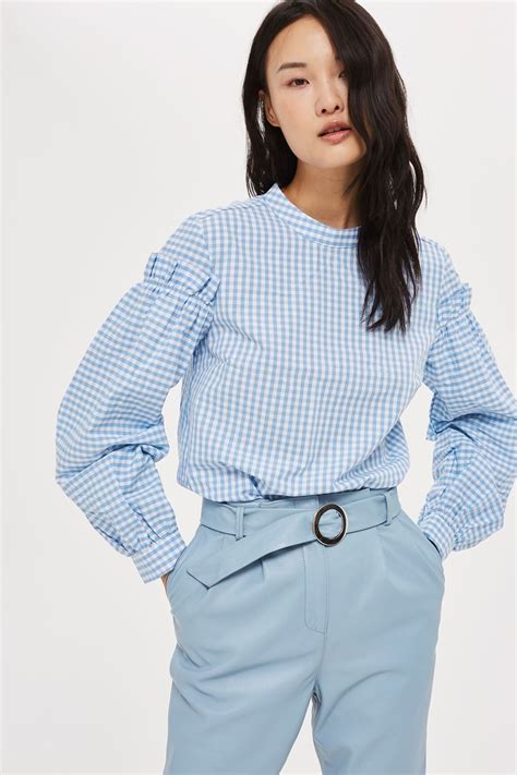 Gingham Blouse gingham mutton sleeve blouse topshop