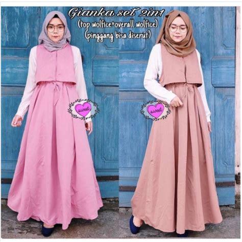 Baju Muslim Set 2in1 Glitter Tosca 10 gaya baju gamis untuk remaja lebaran idul fitri gaya modern tutorial dan trend