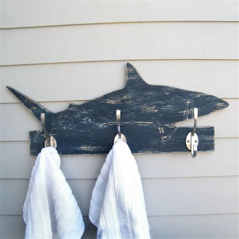 Shark Bathroom Accessories Shark Towel Hook Wooden Mako Shark Coat Hook Robe