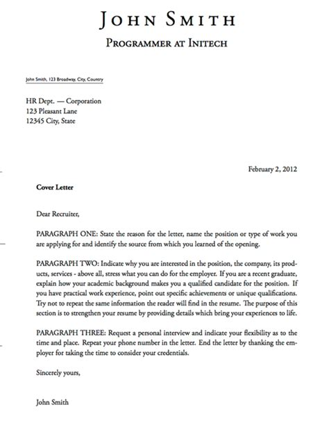 cover letter outline exles templates