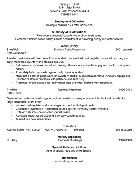Resume Sle Clerk Retail Sales Clerk Resume Sle Resumes Design