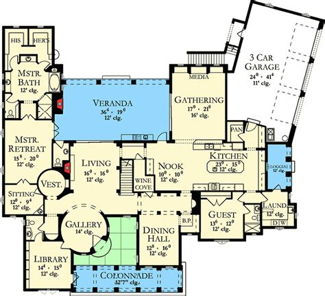 spanish villa floor plans spanish villa with studio 82005ka architectural