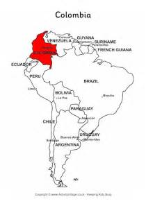 colombia on map of south america