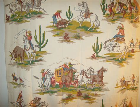 vintage cowboy curtains barkcloth curtain vintage western with cowboys and indians