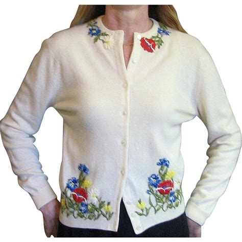 Vc Sweater vintage 1950 s sweater vintage appliqued flower from mjgdesigns on ruby