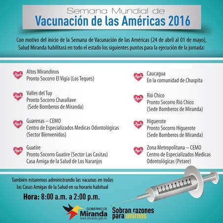 semana de la vacunacion de las americas 2016 nueve puntos habilitados en semana de vacunaci 243 n de las