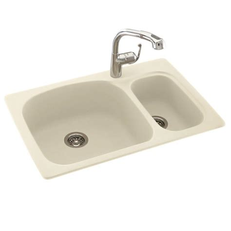 undermount kitchen sink with faucet holes swan drop in undermount composite 33 in 1 hole 70 30
