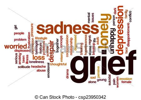 comfort in sadness clue word drawing of grief word cloud concept with sad lonely