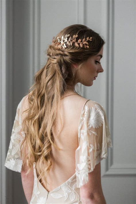 how to wrap wedding hair alena wrap headpiece rose gold leaf circlet headpiece