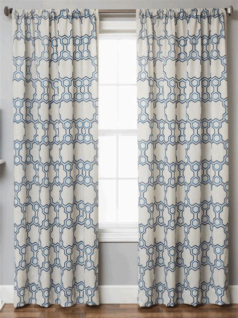 blue pattern window panels logan linen style moroccan geometric tile curtains
