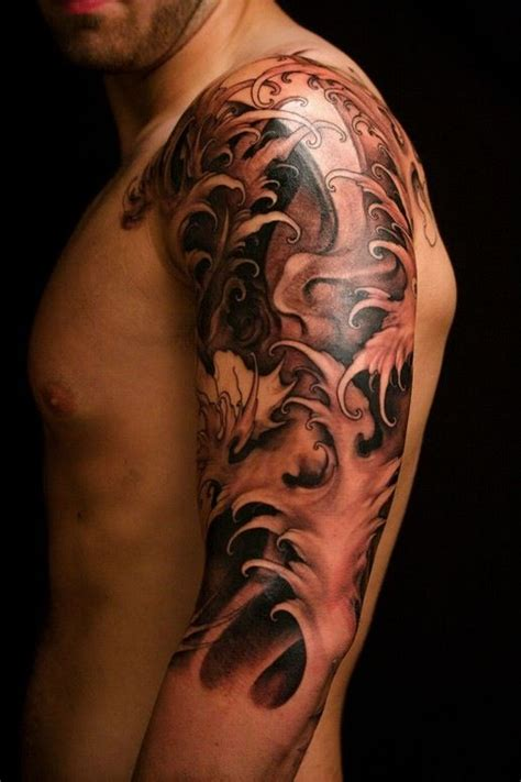 japanese style waves half sleeve tatuaże pinterest