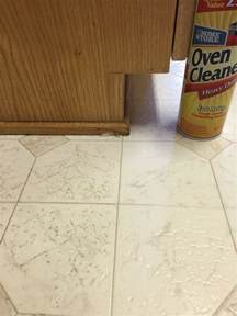 cleaning linoleum floors oven cleaner with lye spray and let set for a minute or so scrub