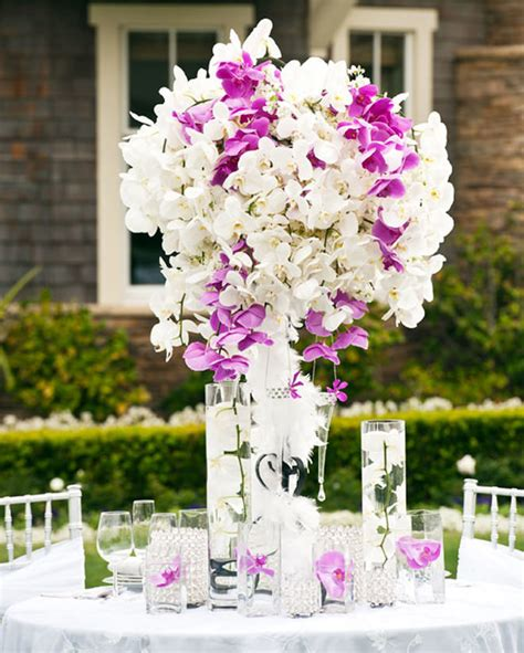 Centerpiece Flower Arrangements For Weddings by White And Purple Wedding Centerpieces Memes