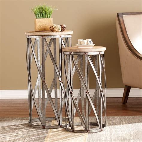 accent table set southern enterprises baltimore antique silver end table