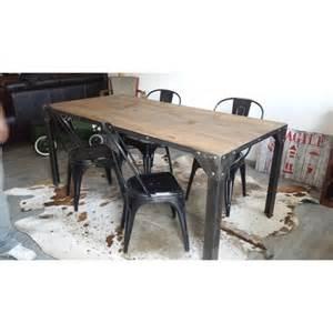 table de salle 224 manger industriel pied en acier et