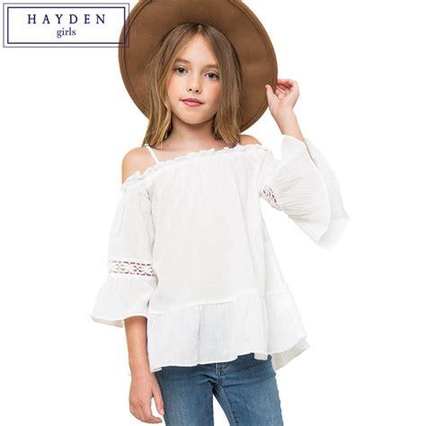 Blouse Sabrina Top Shoulder Blouse hayden shoulder top flare sleeve blouse shirt 7 to 14 years teenagers brand