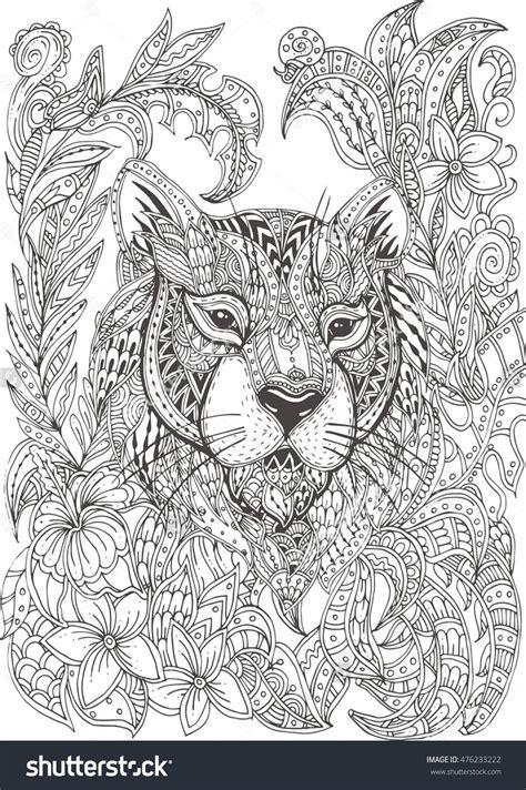 hand drawn tiger  ethnic floral doodle pattern