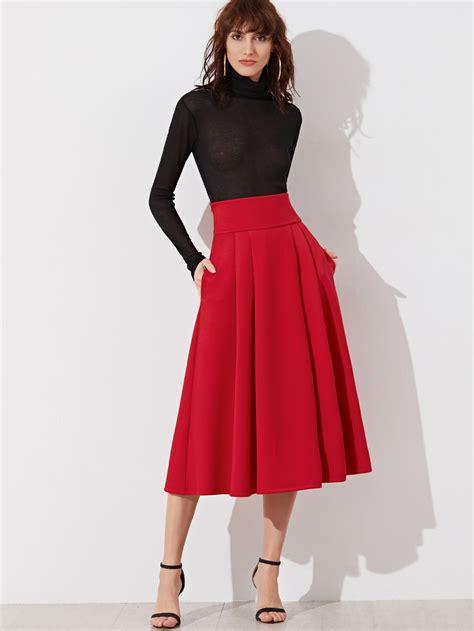wide waistband side zip box pleated midi skirt shein