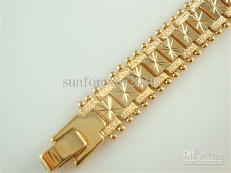 New Design Men's Cool Watch Bracelet , Vogue Gold Plated Brass Chains 12mm 8inch Good Selling