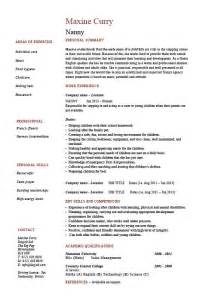 Nanny Resume Templates by Nanny Resume Exle Sle Babysitting Children