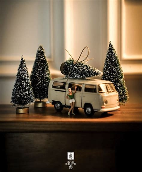christmas trees and toy cars miniature cars and trees