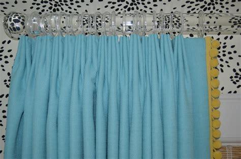 Pom Pom Curtains Designs Turquoise Drapes With Yellow Pom Pom Trim And Lucite Rods