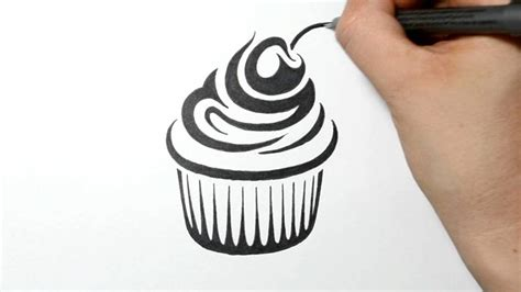 how to draw a cupcake tribal tattoo design real time