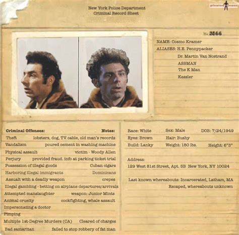 Criminal Record Kramer Arrest Record Seinfeld Pleated