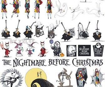 nightmare before christmas characters vector clip art