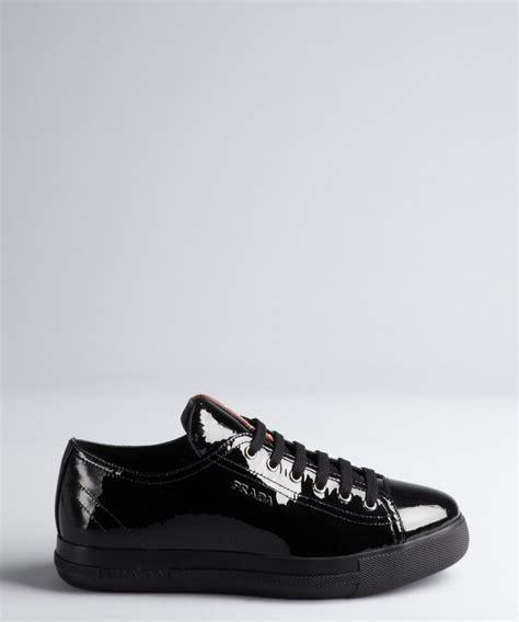 prada womens sneakers prada women s prada sport black patent leather lace up
