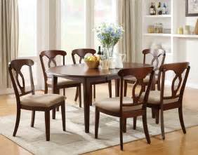 Oval Dining Room Table Sets Liam Cherry Finish 7 Piece Space Saver Dining Room Set