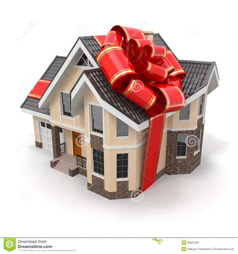 house gift house gift mansion with ribbon and bow royalty free stock