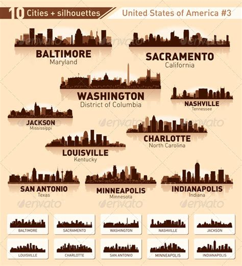skyline city set 10 cities of usa 3 graphicriver