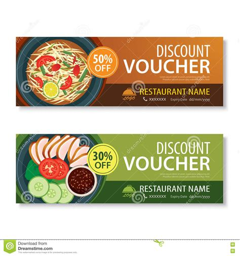 food voucher template discount voucher template with thai food flat design stock