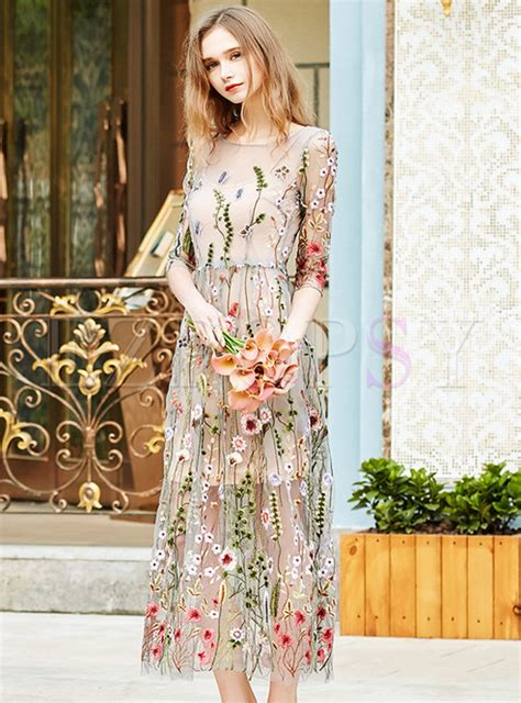 Embroidered Maxi Dress sweet embroidered mesh slim maxi dress ezpopsy