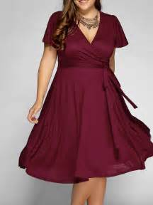 plus size wine colored dress front tie swing surplice plus size dress in wine 3xl