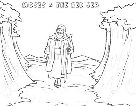moses walking through red sea coloring page moses walking