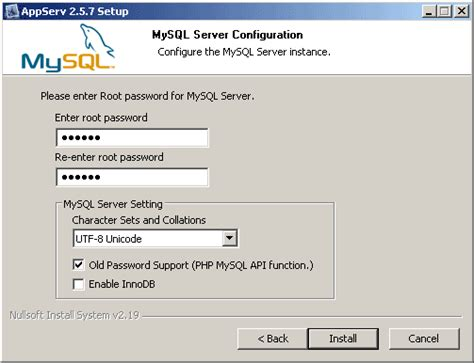 xp configure mysql database howto install appserv apache php mysql