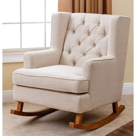 Fabric Rocking Chair by Abbyson Living Thatcher Fabric Rocking Chair In Beige Br