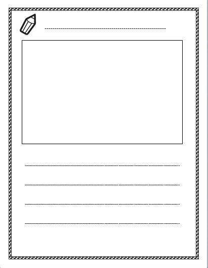 template for writing free lined paper with space for story illustrations