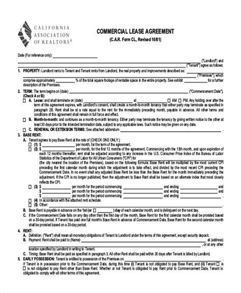printable commercial lease agreement printable lease agreement form sle 10 free