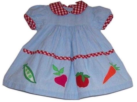 Rare editions size 18 months baby infant girl dress vegetables blue n