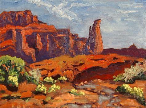 Landscape Paintings Utah Fisher Tower From Creek Castle Valley Moab Utah