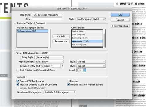 Table Of Contents Template Indesign by Generate An Indesign Table Of Contents From A Template
