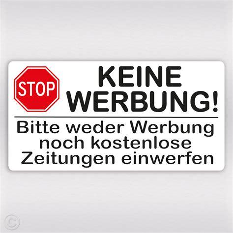 Aufkleber Keine Unadressierte Werbung by Keine Werbung Stop Schild Aufkleber Bitte Keine Werbung