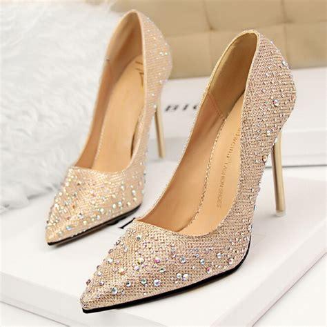 Rhinestone Platform Pumps 2016 fashion silver rhinestone wedding shoes