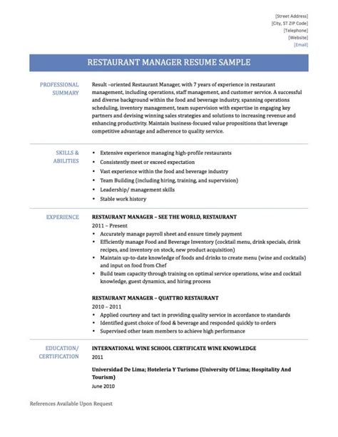 Resume For Restaurant Manager by Restaurant Manager Resume Template Business